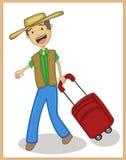 Viajante feliz com desenhos animados ilustração royalty free