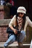 Viajante no quadrado de Durbar em Kathmandu Nepal Fotografia de Stock Royalty Free