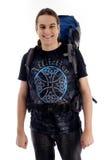 Viajante novo com bloco do saco Imagem de Stock Royalty Free