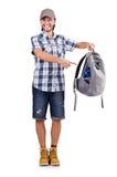 Viajante novo com a trouxa isolada no branco foto de stock royalty free