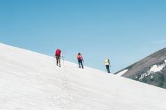 Viajantes do grupo que escalam a geleira das montanhas Fotografia de Stock Royalty Free