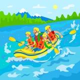 Viajantes no barco, transportar de rio, natureza selvagem ilustração royalty free