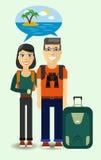 Viajantes que sonham sobre a praia ensolarada ilustração royalty free