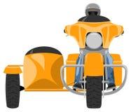 Viajar a la motocicleta del coche lateral con vista delantera del jinete Foto de archivo