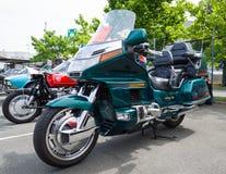 Viajar a la motocicleta Honda Gold Wing Fotografía de archivo libre de regalías