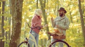 Viaje al aire libre de las vacaciones del d?a de fiesta Pares del oto?o Cople joven feliz en parque en d?a soleado del oto?o Muje almacen de metraje de vídeo