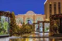Viaje al ` de la Navidad, el paisaje del ` del festival del ` s Moscú del Año Nuevo en el cuadrado de Manege por la tarde Fotos de archivo