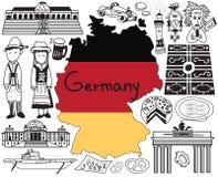 Viaje al icono del dibujo del garabato de Alemania ilustración del vector
