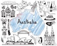 Viaje al icono del dibujo del garabato de Australia stock de ilustración