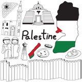 Viaje al icono del dibujo del garabato de Palestina con concepto amistoso del turismo de Israel en fondo aislado ilustración del vector