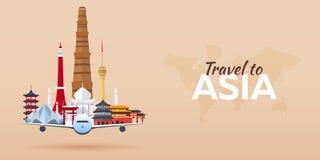 Viaje a Asia Aeroplano con las atracciones Banderas del recorrido Estilo plano Foto de archivo libre de regalías
