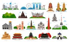 Viaje a Asia Singapur, Indonesia, Bali, China, Corea del Sur, Taiwán, Vietnam stock de ilustración