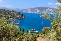 Viaje azul en la opinión de Amos Bay - de Marmaris encima Fotos de archivo libres de regalías
