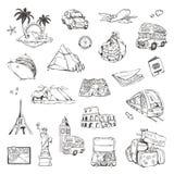 Viaje, bosquejos de los iconos del vector Imagen de archivo