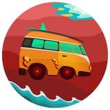 Viaje clásico del vintage del autobús de Volkswagen stock de ilustración