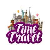Viaje, concepto del viaje Señales famosas del mundo Ejemplo del vector de las letras libre illustration