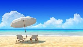 Viaje, días de fiesta, centro turístico. Silla y paraguas de playa en la playa de la arena. libre illustration