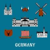 Viaje de Alemania e iconos planos del turismo Fotografía de archivo
