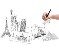 Viaje de dibujo en todo el mundo Fotos de archivo libres de regalías