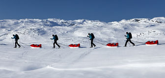 Viaje de esquí en el Kungsleden Fotos de archivo libres de regalías