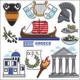 Viaje de Grecia e iconos de visita turístico de excursión del vector de las señales de la cultura Foto de archivo