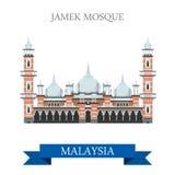 Viaje de la atracción de Kuala Lumpur Malaysia de la mezquita de Jamek que hace turismo stock de ilustración