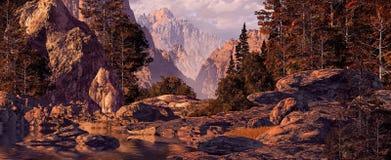 Viaje de la canoa de las montañas rocosas Imagen de archivo libre de regalías