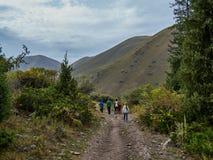 Viaje de la familia en las montañas foto de archivo