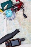 Viaje de la pesca con los trastos y el navegador de los gps Fotografía de archivo libre de regalías