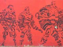 viaje de teniente general Borgs en el movimiento - arte de la calle de Valencia imagenes de archivo