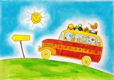 Viaje del autobús escolar, el dibujo del niño, pintura de la acuarela Imagen de archivo libre de regalías