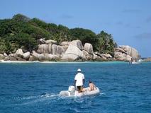 Viaje del barco en Seychelles Foto de archivo