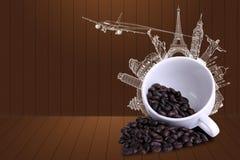 Viaje del café en todo el mundo Imagenes de archivo