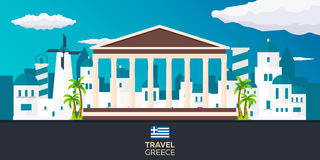 Viaje del cartel al horizonte de Grecia Acrópolis Ilustración del vector Foto de archivo