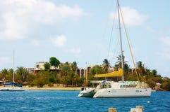 Viaje del catamarán de Christiansted alrededor de la isla del croix del senior Foto de archivo