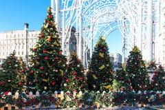 Viaje del festival de Moscú a la Navidad Los árboles iluminados del Año Nuevo en Manezhnaya ajustan delante de museo histórico Fotos de archivo