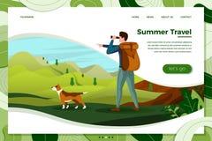 Viaje del hombre del vector con el perro, mirando en prismáticos stock de ilustración