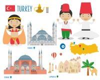 Viaje del icono plano de Turquía y concepto determinados del turismo Imágenes de archivo libres de regalías