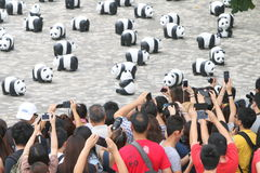 Viaje del mundo de 1600 pandas en Hong Kong Fotos de archivo libres de regalías