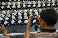 Viaje del mundo de 1600 pandas en Tailandia por WWF en el ferrocarril &#x28 de Bangkok; Hua Lamphong station) Fotos de archivo libres de regalías