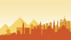 Viaje del país de la ciudad de la ciudad de los edificios de la arquitectura de la silueta de Egipto Imagen de archivo