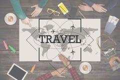Viaje del planeamiento del grupo de personas concepto del recorrido Visión superior Imagenes de archivo