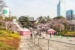 Viaje del templo de Zojoji en Japón el 30 de marzo de 2017 Fotos de archivo libres de regalías