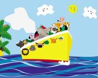 Viaje del verano en la nave Animales africanos Estilo de la historieta ilustración del vector