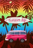 Viaje del verano en una imagen rosada de van vector stock de ilustración