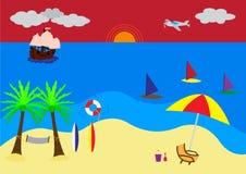 Viaje del verano - escena de la playa de la puesta del sol Imagen de archivo libre de regalías