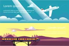 Viaje del verano, vacaciones, banderas horizontales de la aventura, vuelo plano en el cielo, tren que pasa el vector del puente stock de ilustración