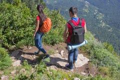 Viaje del viajero en el camino artificial de la reserva de las montañas Caminantes activos Forma de vida activa y sana el vacacio Imagen de archivo libre de regalías