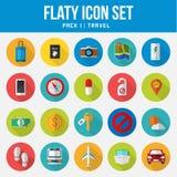 Viaje determinado del paquete del icono plano fotos de archivo libres de regalías