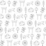 Viaje dibujado mano del vector al modelo inconsútil de Asia que contiene diversos contornos orientales de los elementos Fotos de archivo libres de regalías